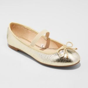 A New Day Gold Hope Elastic Band Ballet Flats New